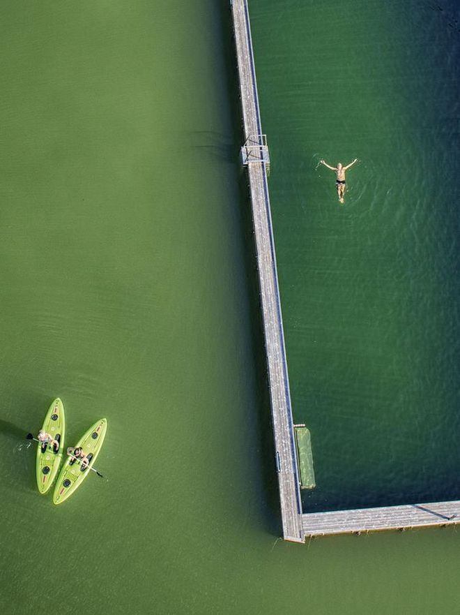 What could be nicer than a swim in the lake? The seaside resort from above